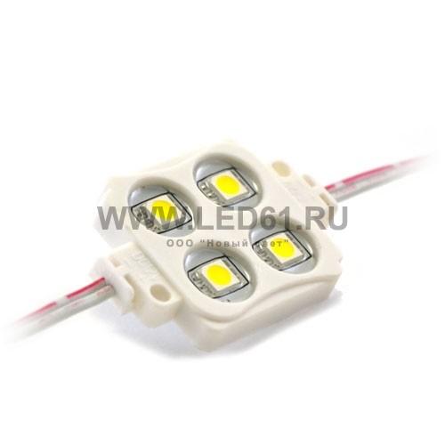 Светодиодный модуль для рекламы, 4 светодиода 5050, белый