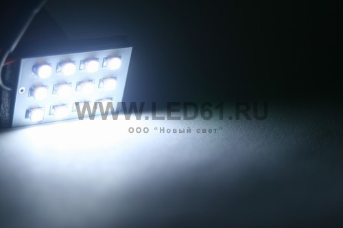 Светодиодная плата подсветки салона BA9S T10 12 SMD 3528 белая