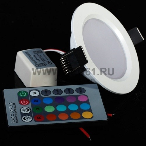 Светодиодный встраиваемый светильник RGB 5Вт