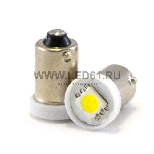 Светодиодная автомобильная лампа BA9s 1 SMD 5050 белая