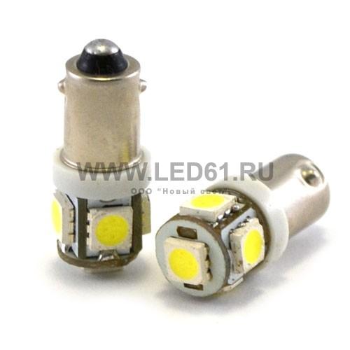 Светодиодная автомобильная лампа BA9s 5 SMD 5050 белая