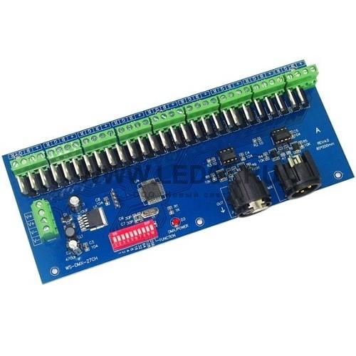 Светодиодный DMX декодер HD712 (12/24V, 180/360W, 27 каналов)