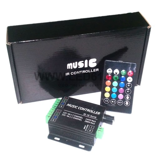 Контроллер для светодиодной ленты RGB, 3 канала, 12-24В, 12А, 24
