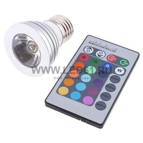Светодиодная цветная лампа RGB E27 3Вт