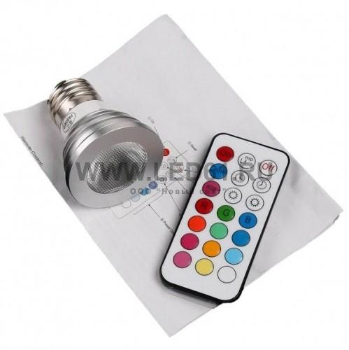 Светодиодная цветная лампа RGB E27 5Вт