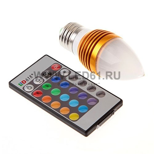 Светодиодная цветная лампа RGB E27 3Вт свеча