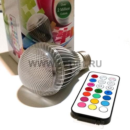 Светодиодная цветная лампа RGB E27 9Вт