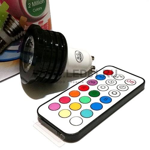Светодиодная цветная лампа RGB GU10 4Вт
