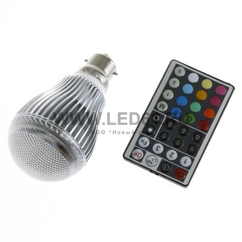 Светодиодная цветная лампа RGB B22 9Вт