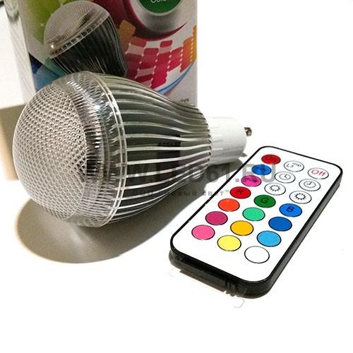 Светодиодная цветная лампа RGB GU10 9Вт