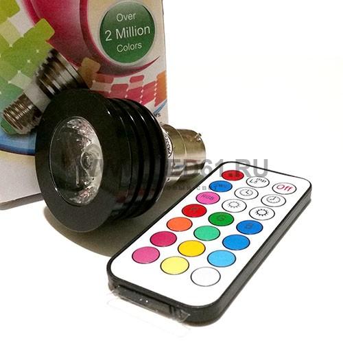 Светодиодная цветная лампа RGB B22 4Вт