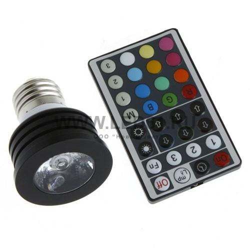 Светодиодная цветная лампа RGB E27 4Вт