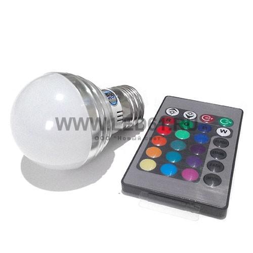 Светодиодная цветная лампа RGB E27 3Вт гриб