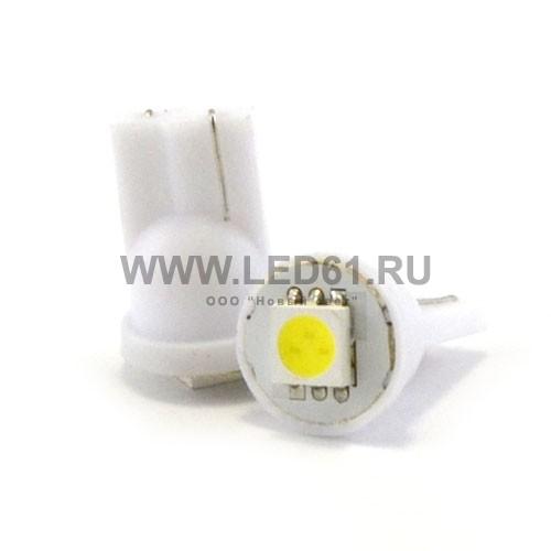 Светодиодная автомобильная лампа T10 (194, W5W) 1 SMD 5050 белая