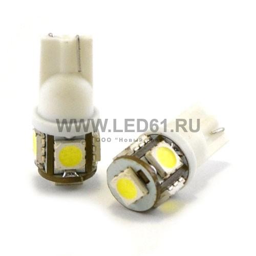 Светодиодная автомобильная лампа T10 (194, W5W) 5 SMD 5050 белая