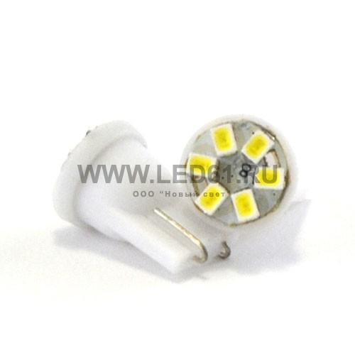 Светодиодная автомобильная лампа T10 (194, W5W) 6 SMD 3528 белая